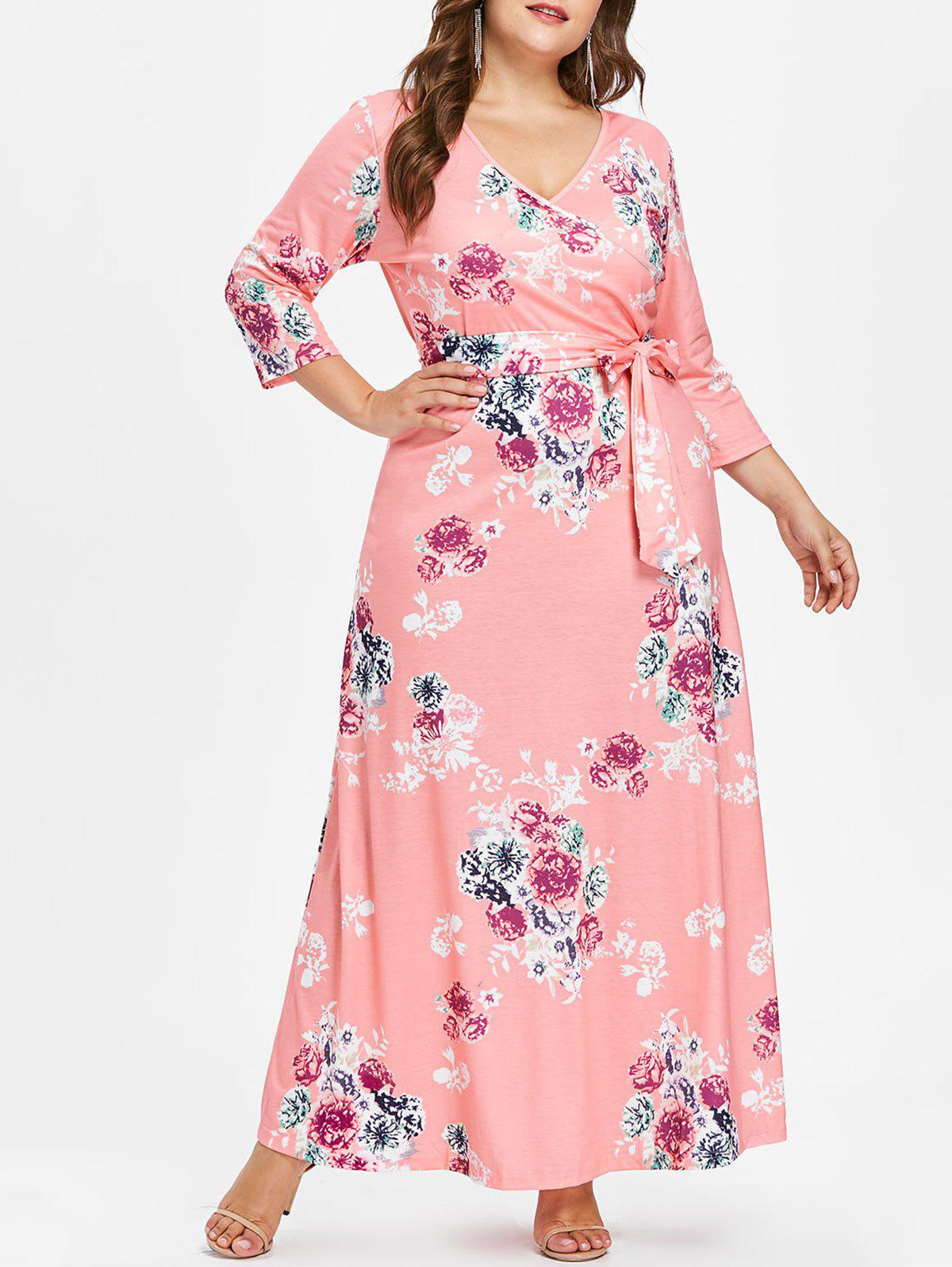 Shops Plus Size Print Maxi Surplice Dress