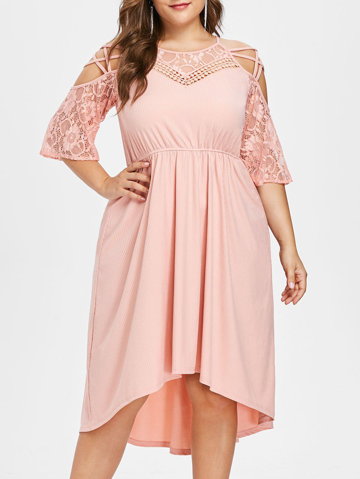 Shops Plus Size Cold Shoulder High Low Hem Dress