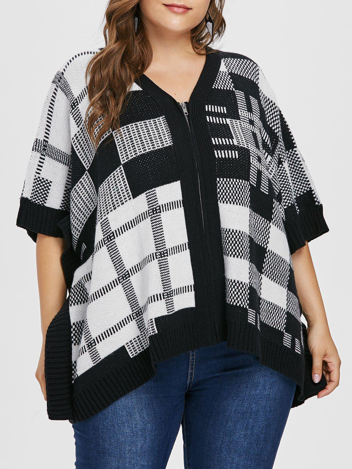 New Checked Plus Size Full Zip Sweater Coat