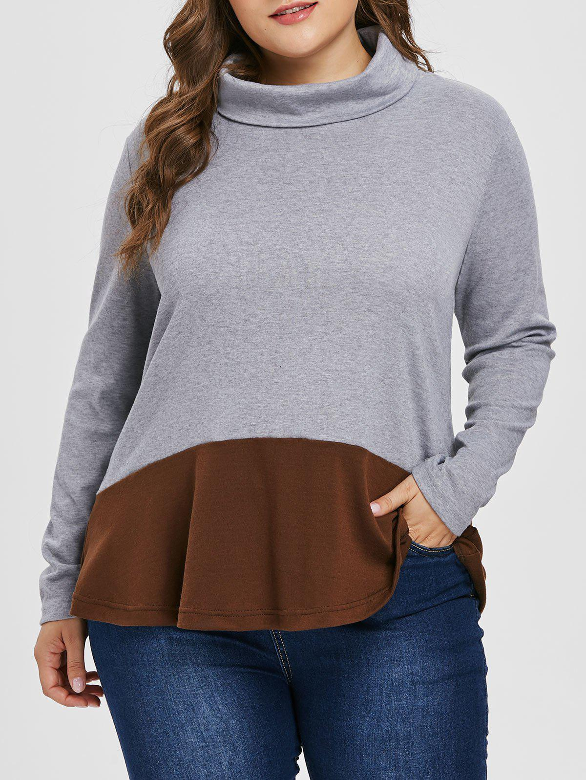 Sweat-shirt Tunique de Grande Taille en Blocs de Couleurs Gris 4X