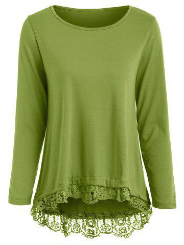 Stylish Solid Color Lace Spliced Hem Long Sleeve T-Shirt For Women - ARMY GREEN - L