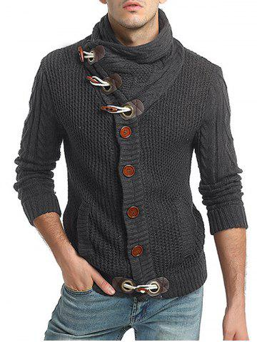 Horn Button Embellished Long Sleeve Sweater