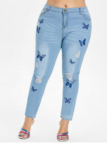 Plus Size Butterfly Embroidered Ripped Jeans - JEANS BLUE - L