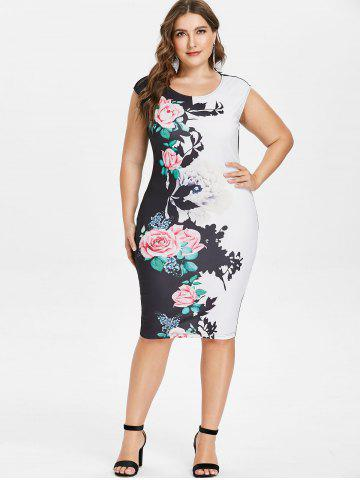 Plus Size Floral Sleeveless Pencil Dress 0b8e8361d902