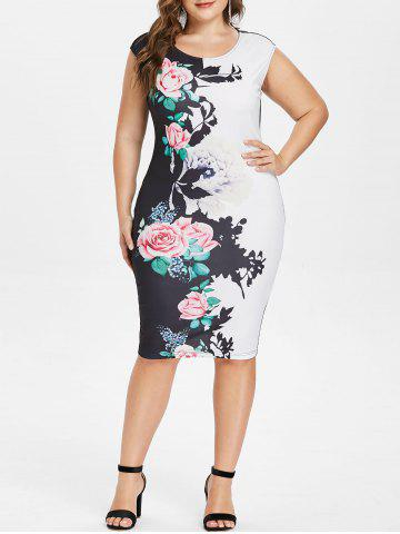 Plus Size Floral Sleeveless Pencil Dress