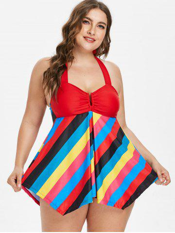 Skirted Plus Size Colorful Striped Tankini Set