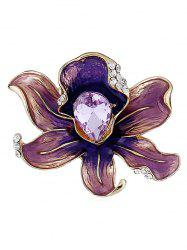 Blooming Flower Water Drop Rhinestone Brooch -