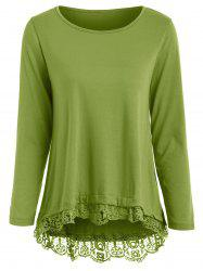 Stylish Solid Color Lace Spliced Hem Long Sleeve T-Shirt For Women -