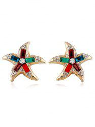 Starfish Shaped Artificial Crystal Rhinestone Earrings -
