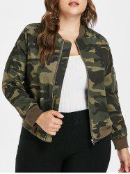 Plus Size Ribbed Panel Camo Jacket -