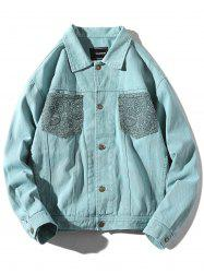 Casual Patch Pocket  Hand with Handcuff Print Jacket -