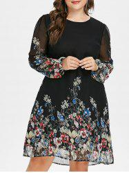 Plus Size Print Long Sleeve Dress -