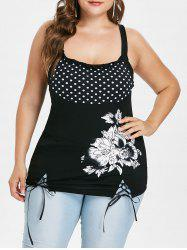 Plus Size Floral Lace Up Tank Top -