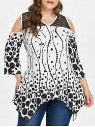 Plus Size V Neck Handkerchief Hem T-shirt -