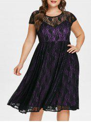 Plus Size Cap Sleeve Lace Dress -