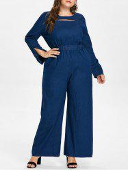 Plus Size Cut Out Denim Jumpsuit -