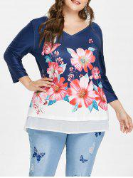 Plus Size Floral V Neck T-shirt -