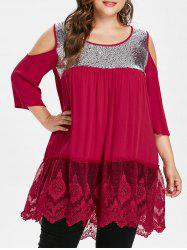Back Cut Out Plus Size Sequin Embellished Blouse -