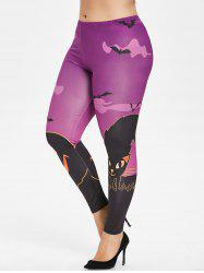 Plus Size Halloween Bat Print Leggings -