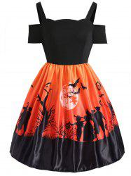 Plus Size Cold Shoulder Halloween Dress -