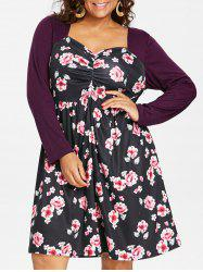 Plus Size Floral Ruched Long Sleeve Dress -