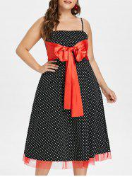 Plus Size Polka Dot Vintage Dress -