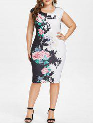 Plus Size Floral Sleeveless Pencil Dress -