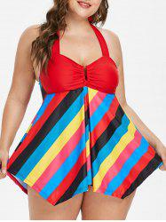 Skirted Plus Size Colorful Striped Tankini Set -
