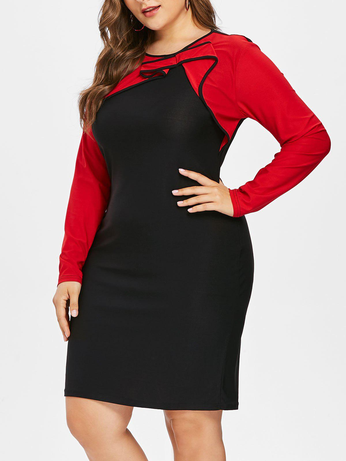 Color Block Plus Size Bodycon Mini Dress, Black