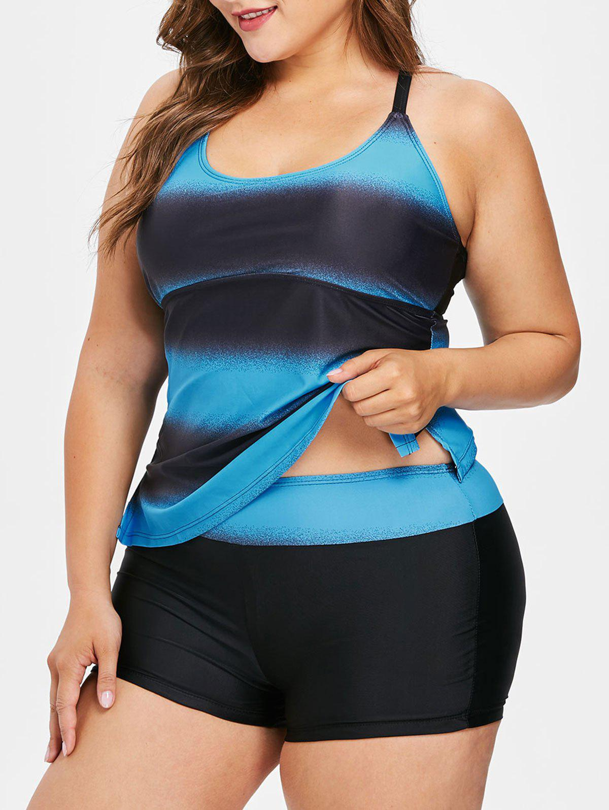 Latest Plus Size Color Block Multi Strap Back Tankini