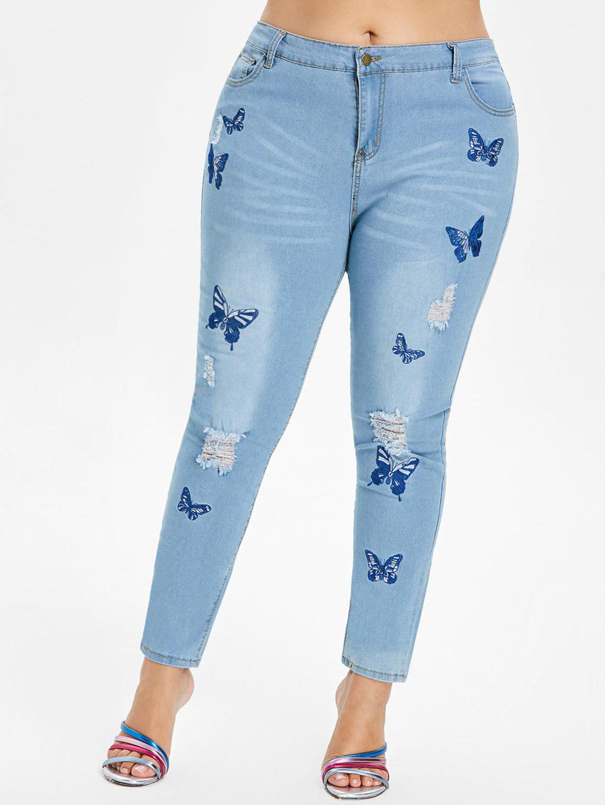Outfits Plus Size Butterfly Embroidered Ripped Jeans