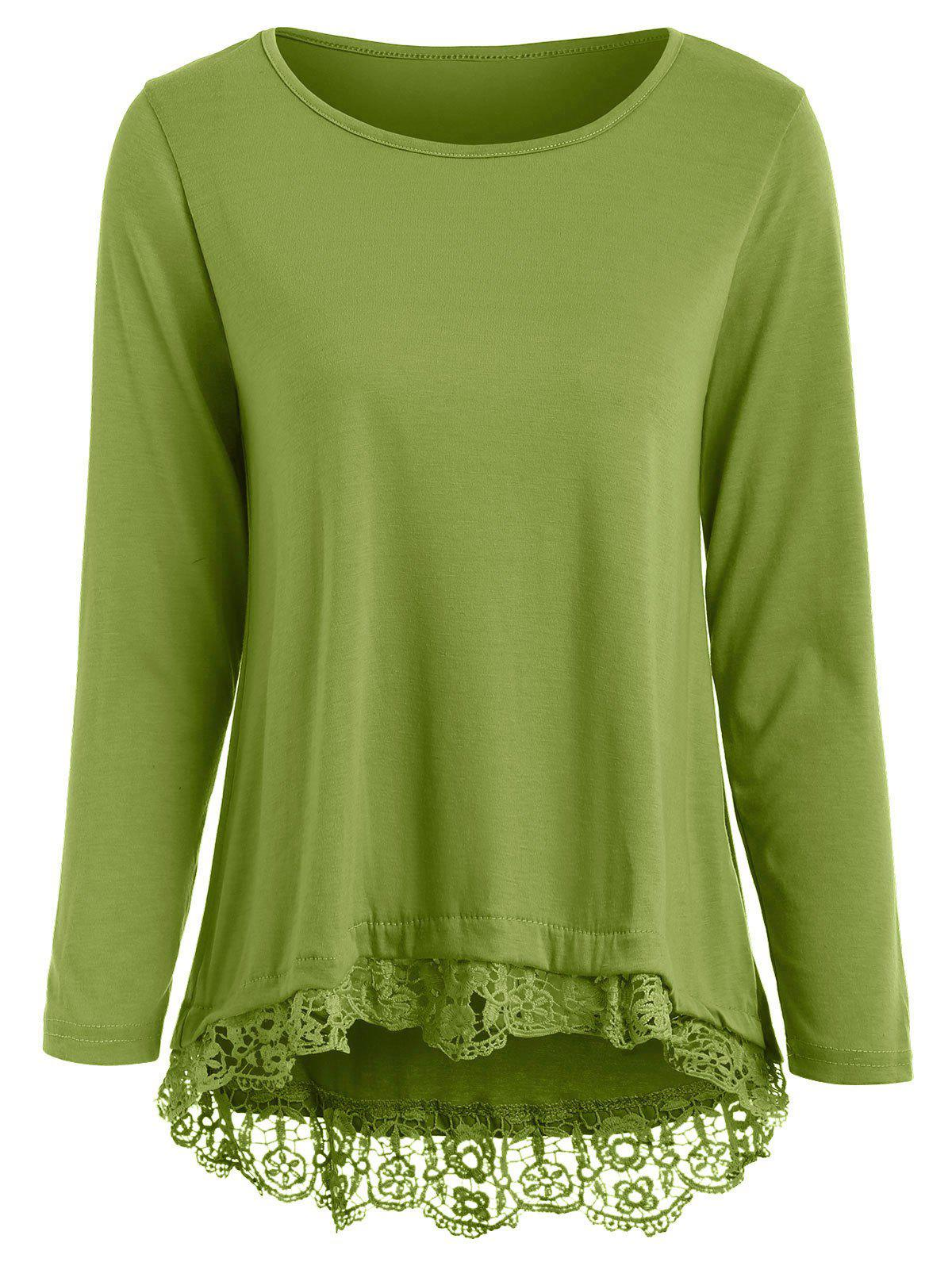 Store Stylish Solid Color Lace Spliced Hem Long Sleeve T-Shirt For Women