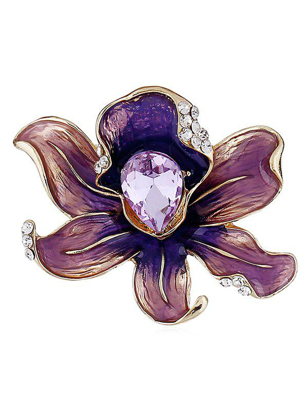 Online Blooming Flower Water Drop Rhinestone Brooch