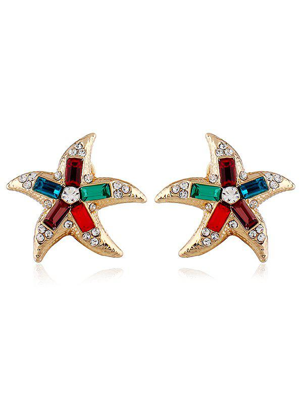 Affordable Starfish Shaped Artificial Crystal Rhinestone Earrings