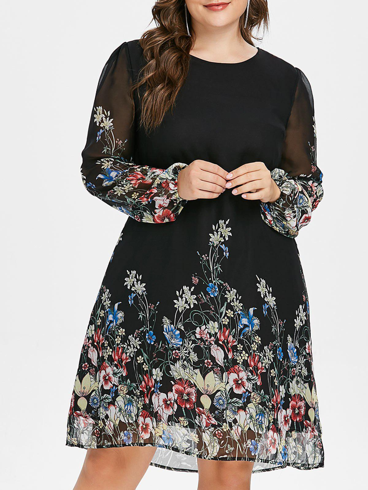 Chic Plus Size Print Long Sleeve Dress