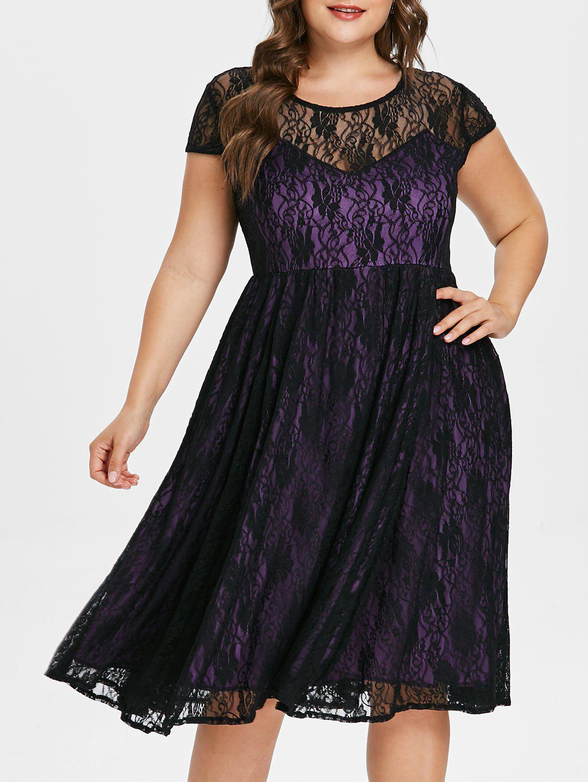 New Plus Size Cap Sleeve Lace Dress