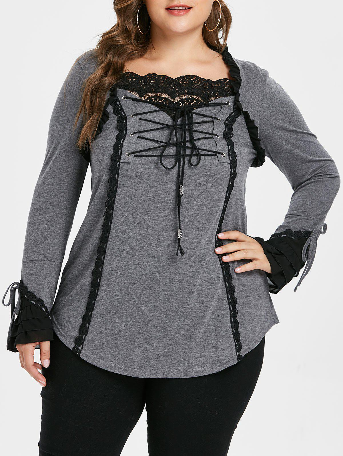 Affordable Plus Size Long Sleeve Lace Up Top