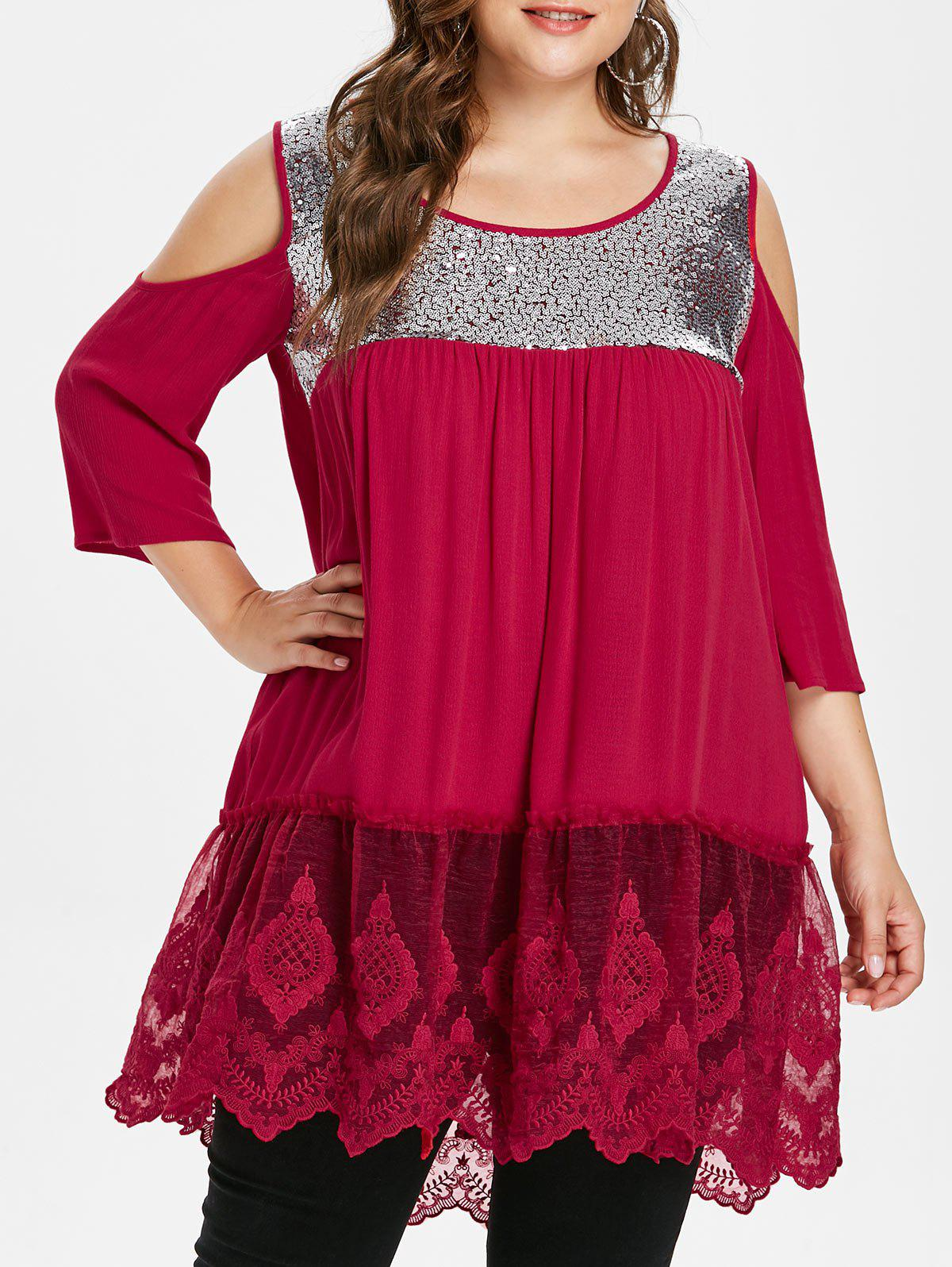 Trendy Back Cut Out Plus Size Sequin Embellished Blouse