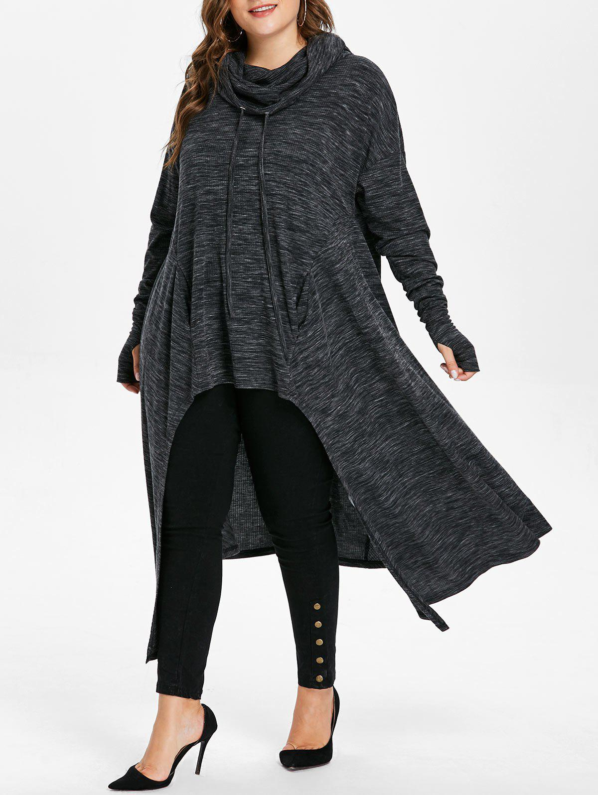 Chic Plus Size Drawstring Longline High Low Hoodie