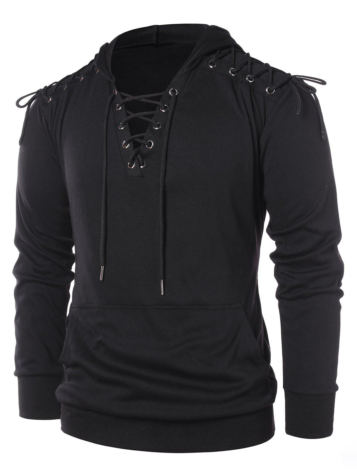 Fashion Lace Up Long Sleeve Hoodie