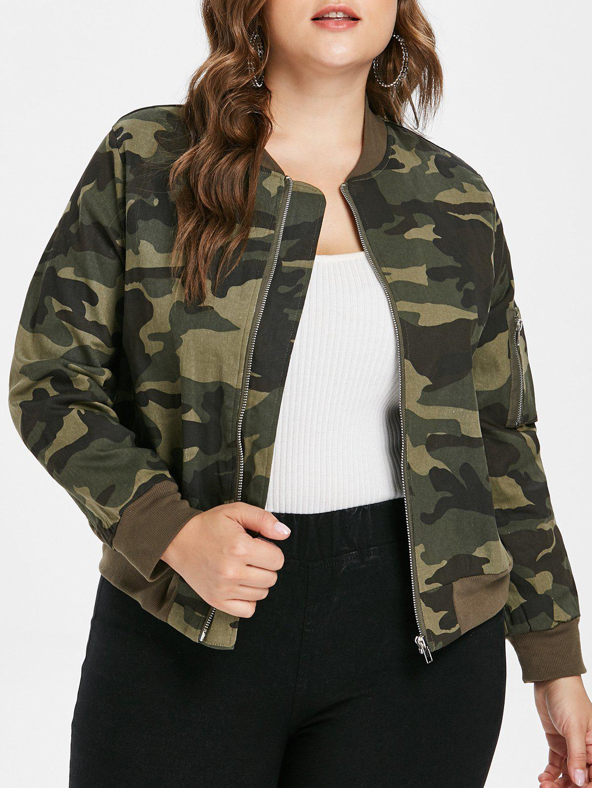 Chic Plus Size Ribbed Panel Camo Jacket