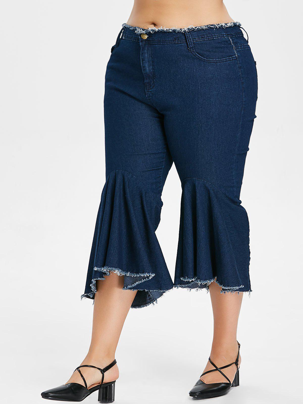 Unique Ruffle Plus Size Frayed Hem Jeans