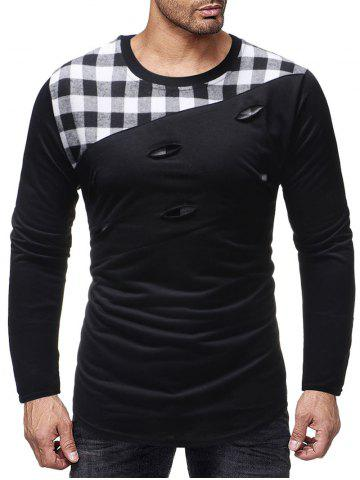 Ripped Checked Panel Round Neck T-shirt