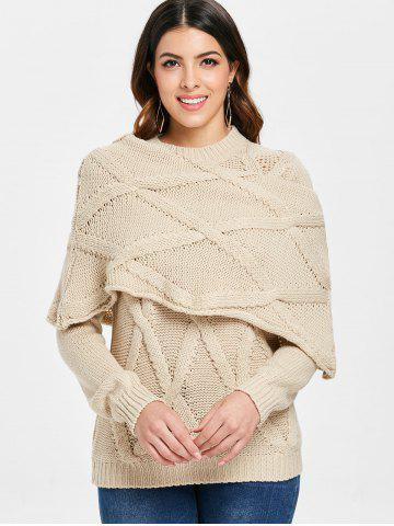 Pullover Cable Knit Long Sleeve Sweater with Scarf