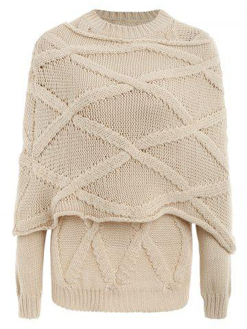 Pullover Cable Knit Long Sleeve Sweater with Scarf - BEIGE - L
