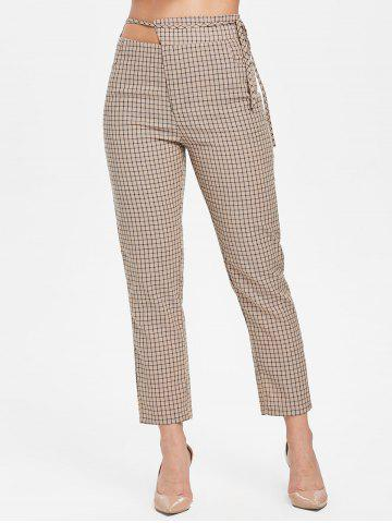 Gingham Cut Out Pants