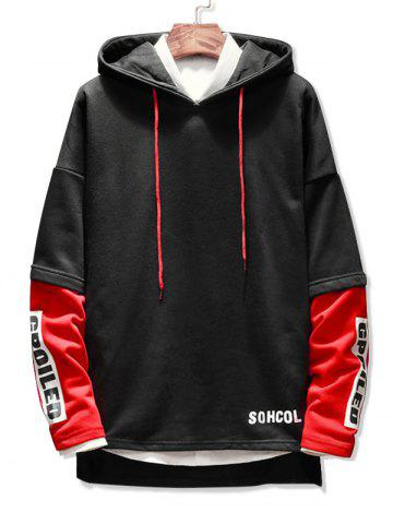 Patchwork Letter Printed Pullover Hoodie