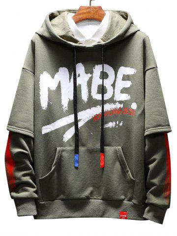 Faux Two Pieces Letter Slogan Print Hoodie