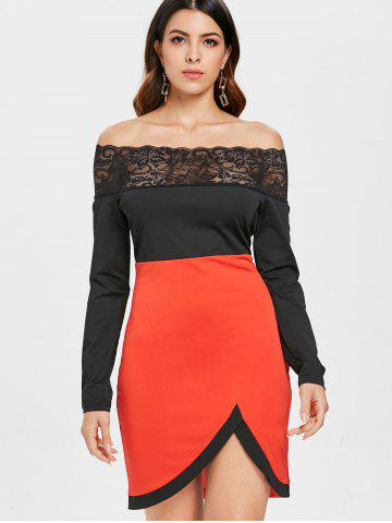 Lace Panel Color Block Bodycon Slit Dress