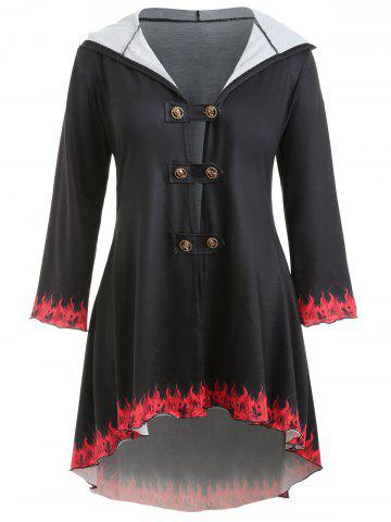 Plus Size Fire Print Double Breasted Coat - BLACK - L